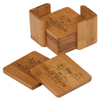 "Personalized 3 3/4"" x 3 3/4"" Bamboo Square 6 Coaster Set with Holder"