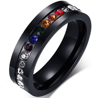 Personalized Stainless Steel Black Gay Pride Eternity Ring
