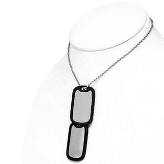 Stainless Steel 2-Piece Dog Tag Military With Chain
