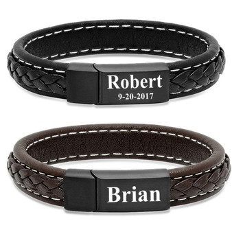 Personalized Genuine Leather Bracelet with Stainless Steel