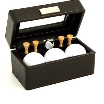 Personalized Golf Accessories Black Leather Box with Glass Top