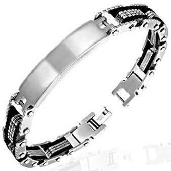 Stainless Steel Bracelet - Black and Silver