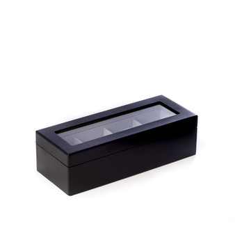Matte Black Wood 4 Watch Box with Glass Top - Free Engraving
