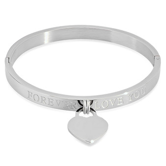 Quality Stainless Steel Forever Love You Bangle Bracelet with Heart Charm