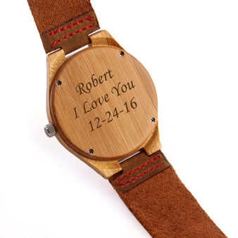 Personalized Bamboo Wood Watch with Genuine Brown Leather