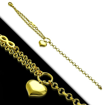 Gold Color Plated Stainless Steel Heart Charm Infinity Link Chain Bracelet