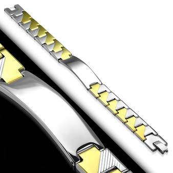 13mm Stainless Steel 2-Tone ID Geometric Panther Link Bracelet