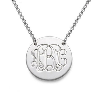 Genuine Sterling Silver  Round Charm Monogram