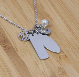 Stainless Steel Veritical Pendants Necklace with Tree of Life Charm