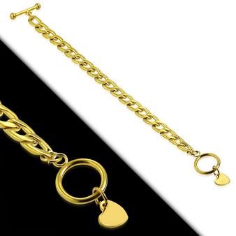 Stainless Steel Gold Color Plated Curb Cuban Link Small Heart Charm Bracelet