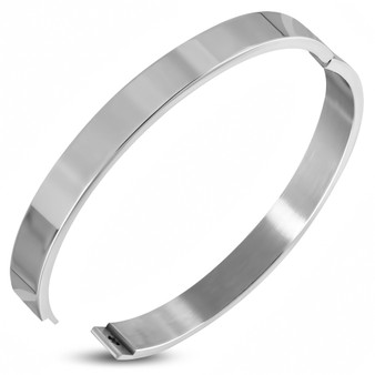 Personalized 8mm Wide Stainless Steel High Polished Flat Hinged Bangle