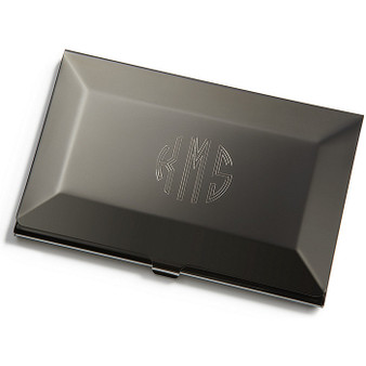 Engraved business card holders and cases personalized quality gunmetal business card holder reheart Images