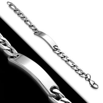 Personalized 10mm Stainless Steel Figaro Link Chain Bracelet