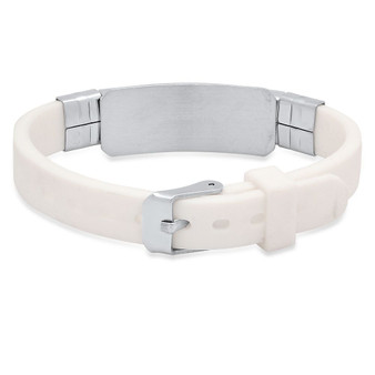 Personalized Stainless Steel with White Rubber Bracelet