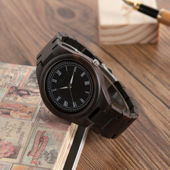 Personalized Luxury Black Wood Roman Numerals Quartz Watch