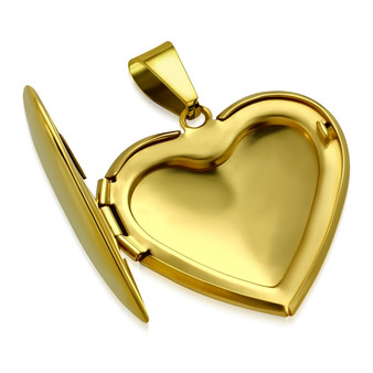 Stainless Steel Love Gold Color Heart Locket Pendant With Chain