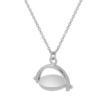 """Sterling Silver Rhodium Plated Small """"I love you"""" Pendant with Necklace"""