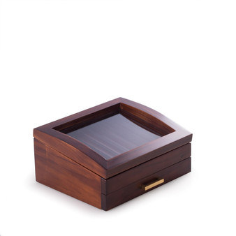 Personalized Walnut Wood 19 Pen Box with Glass See-thru Top