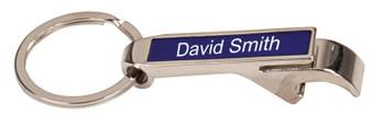 Personalized Silver / Blue Bottle Opener Keychain