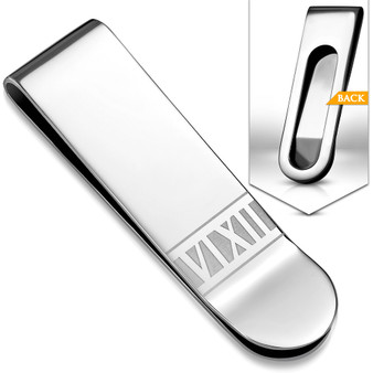 Personalized Stainless Steel Roman Numeral Slim Clamp Money Clip