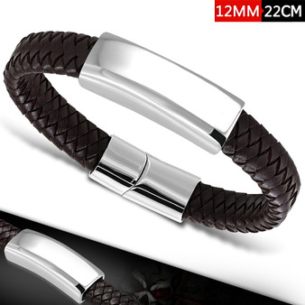 Personalized 12mm Black or Brown Braided Leather ID Bracelet