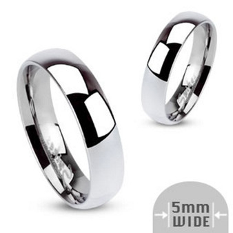 Stainless Steel Wide High Polished Traditional Band Ring
