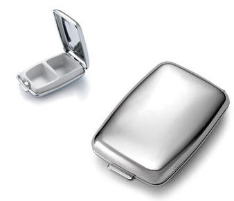 Shiny Chrome Plated 2 Compartment Pill Box