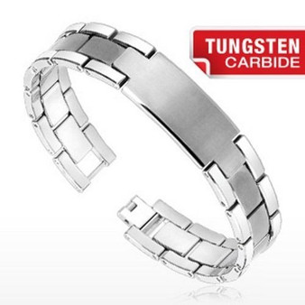 Personalized Tungsten Carbide ID Bracelet Brushed Center