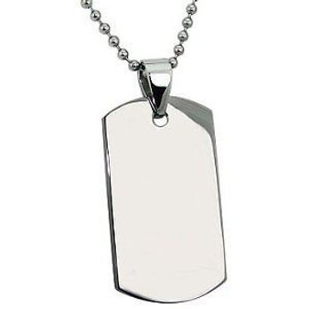 "Stainless Steel Dog tag with 30"" bead chain"