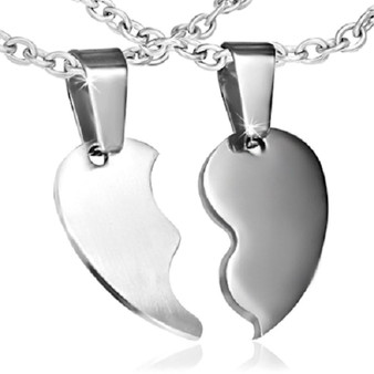 Personalized Couples Split heart Stainless Steel Pendant
