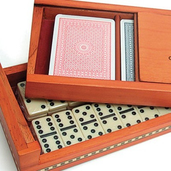 Birch Box with Inlaid Trim Combo Card/Domino Set