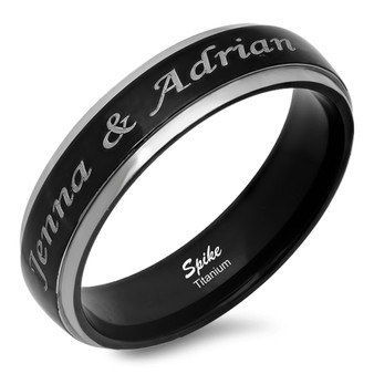 Personalized 6mm Two-Tone Titanium Dome Band Ring