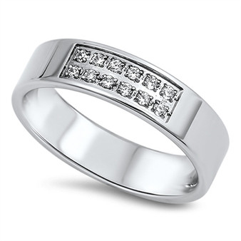 6mm Stainless Steel with Cubic Zirconia Ring