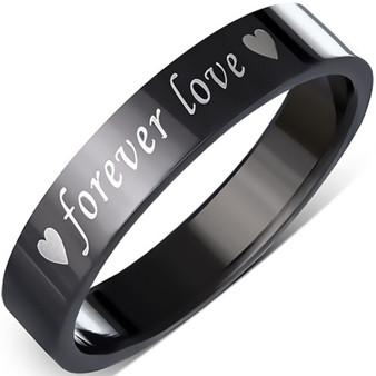 4mm Black Stainless Steel Forever Love Heart Flat Band Ring