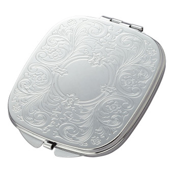 Personalized Floral Pattern Silver Square Compact Mirror