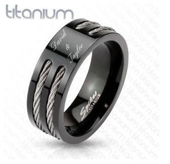 Personalized Solid Titanium Black Two Wire in Slit Center Band Ring