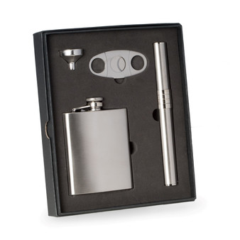 Personalized 4-pc. Stainless Steel Flask& Cigar Case