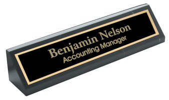 "Personalized 10"" Genuine Black Marble Desk Wedge"