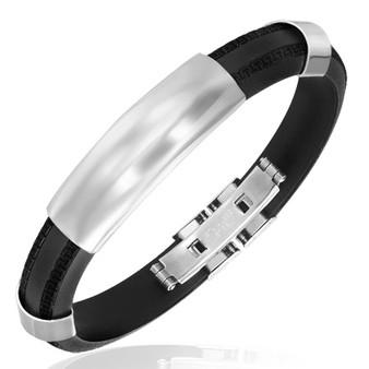 Black Rubber 2-tone with Greek Key Design Bracelet