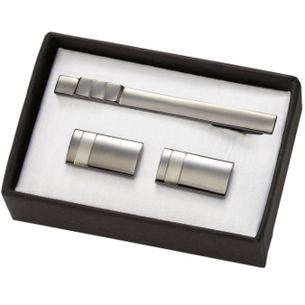 2-tone Gunmetal Brass cufflinks & Tie Bar Set