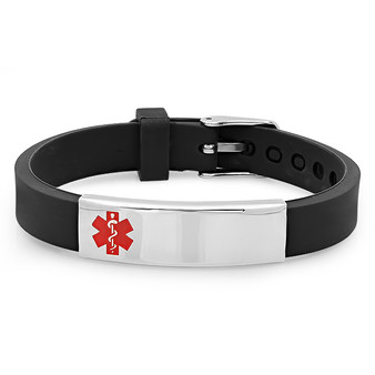 Stainless Steel With Rubber Medical ID Bracelet