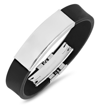 Personalized Jewelry Stainless Steel with Rubber ID Bracelet