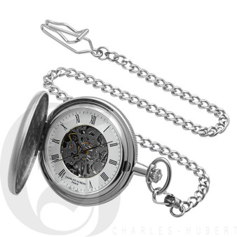 Brushed Finish Hunter Case Mechanical Pocket Watch by Charles Hubert