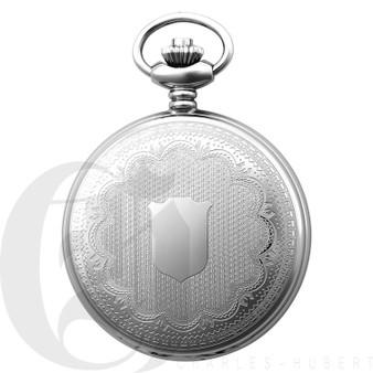 Stainless Steel Hunter Case Quartz Pocket Watch by Charles Hubert