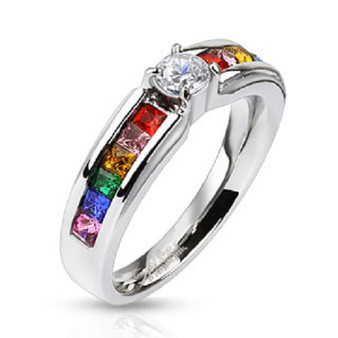 Stainless Steel Clear Center Gem with Rainbow CZs Band Ring