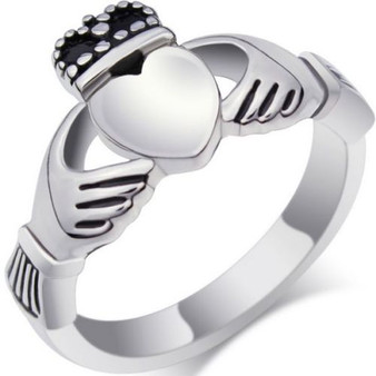 Stainless Steel Claddagh Ring with CZ - Free Engraving