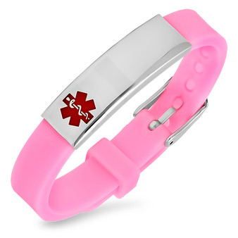 Quality Stainless Steel With Pink Rubber Medical ID Bracelet