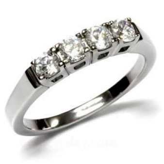 Personalized Stainless Steel Four Stone Band Ring