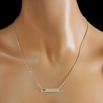 Sterling Silver Small Name Bar Necklace with Heart