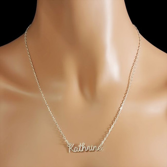 Personalized Sterling Silver Cursive Name Necklace